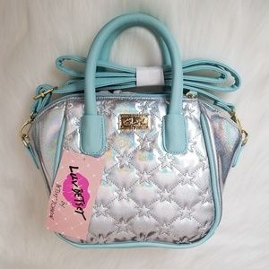 Betsey Johnson Mermaid Holo Purse Satchel Seafoam